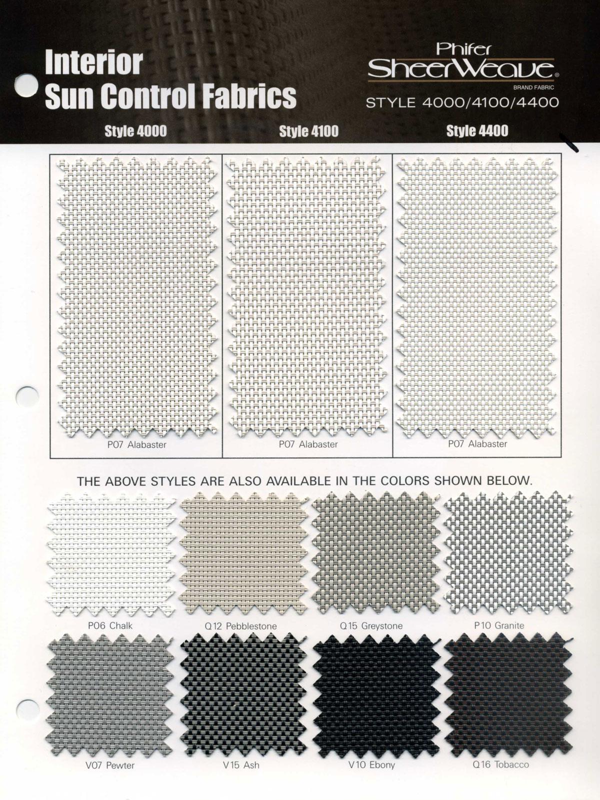 Phifer Sheerweave Phifer SheerWeave Style 4100 Sample Card  Search Results