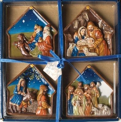 Manual Woodworkers and Weavers  Inc Nativity Mini Plate Set  Christmas Table Decor