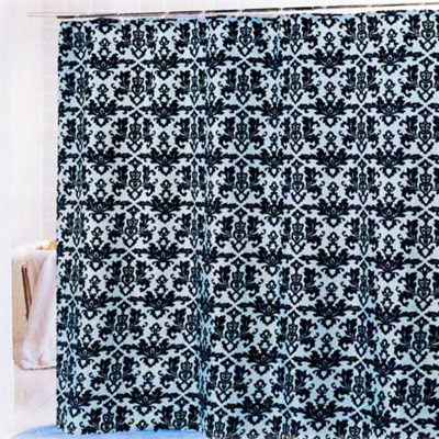 Carnation Home Fashions  Inc Damask Shower Curtain Chocolate Blue Search Results