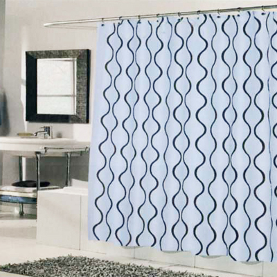 Carnation Home Fashions Inc Geneva Shower Curtain Blue Brown Fabric Curtains