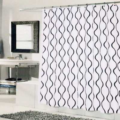 Carnation Home Fashions  Inc Geneva Shower Curtain White Black Search Results