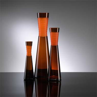 Cyan Design Orange Chiseled Neck Vase  Contemporary Vase