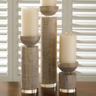 Global Views Scratched Pillar Holder White Candle Holders and Candelabra