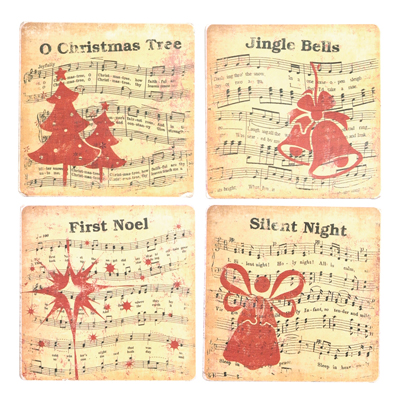 Manual Woodworkers and Weavers  Inc Musical Christmas Coaster Set  Christmas Table Decor