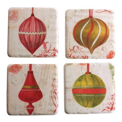 Manual Woodworkers and Weavers  Inc Ornament Coaster Set  Christmas Table Decor