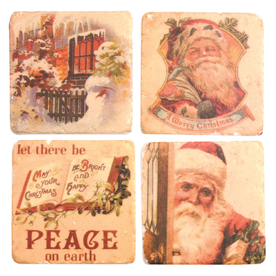 Manual Woodworkers and Weavers  Inc Santa Coaster Set  Christmas Table Decor