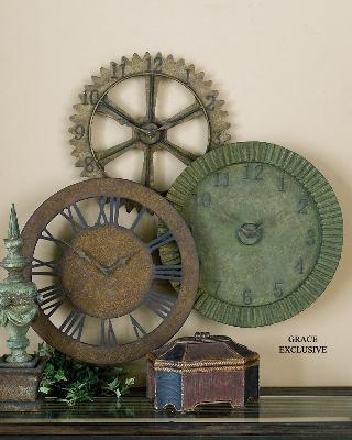Uttermost Rusty Gears Clock  Wall Clocks