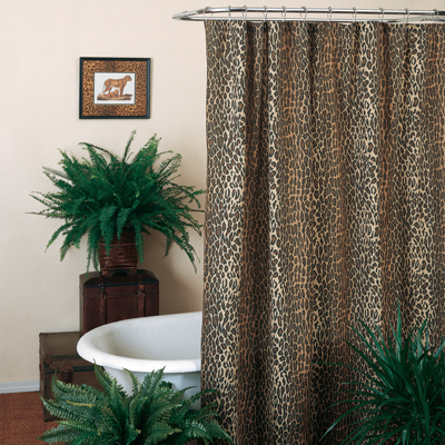 Leopard Shower Curtain With Vinyl Liner