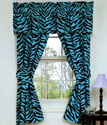 Kimlor Blue Zebra Print Rod Pocket Curtains (2 Panels)  Search Results
