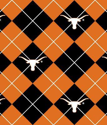 Foust Textiles Inc Texas Longhorns Argyle Fleece  Fleece College Fabric