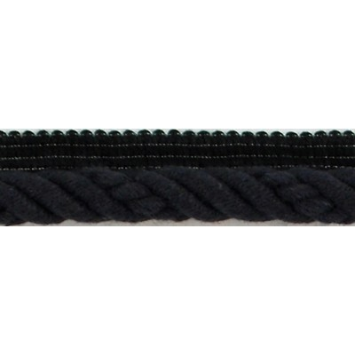 Brimar Trim  1/2 in Braided Cord W/Lip BK Fabric Cord