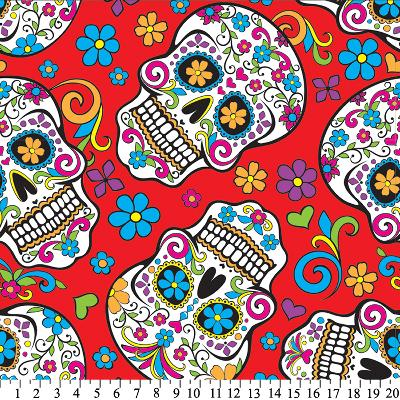 David Textiles Folkloric Skulls Fleece Red Search Results