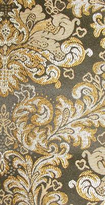 Fabricade 112925 Black Damask Jacquard Fabric