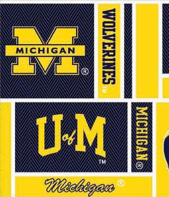 Foust Textiles Inc Michigan Wolverines Block Cotton Print  College Cotton Fabric