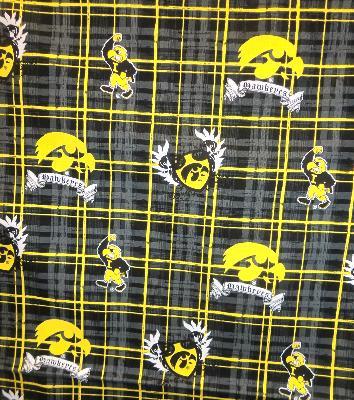 Foust Textiles Inc Iowa Hawkeyes Plaid Cotton Print  College Cotton Fabric