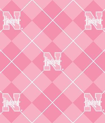 Foust Textiles Inc Pink Nebraska Cornhuskers Argyle Fleece  Foust Textiles Fabric