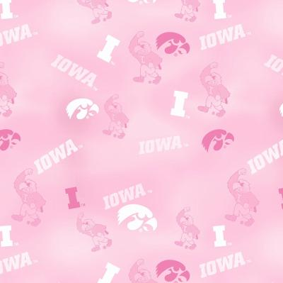 Foust Textiles Inc Pink Iowa Hawkeyes Cotton Print  Cotton College Fabric