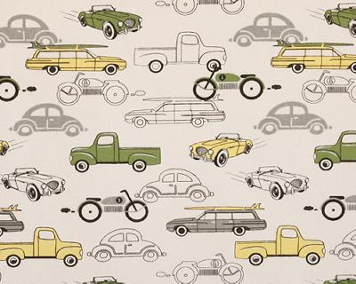 Premier Prints Retro Rides Clover Natural All Things Boy Quilting Fabric