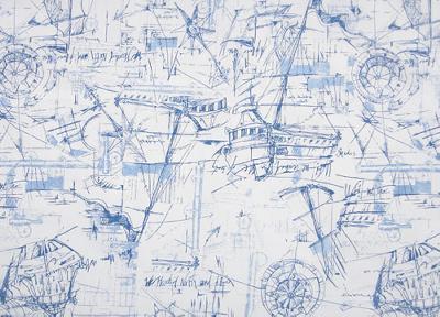 Premier Prints Schooner Nautical Boats and Sailing Fabric