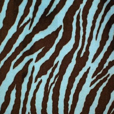 Shannon Fabrics Cuddle Zebra Brown Blue Animal Print Faux Fur Fabric