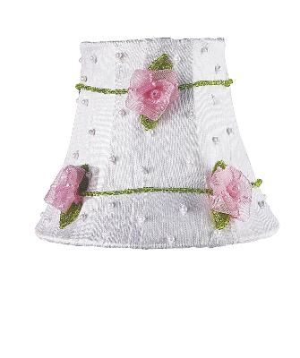 Jubilee Collection Chandelier Shade - Pink Net Flower White Kids Lamps and Shades