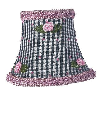Jubilee Collection Chandelier Shade - Black Check w/Pink Rosebud  Kids Lamps and Shades