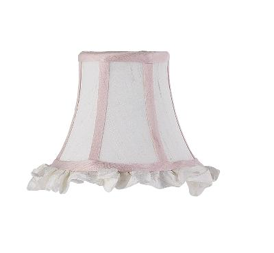 Jubilee Collection Chandelier Shade - Ruffled Edge White/Pink Kids Lamps and Shades