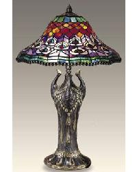 Peacock Tiffany Table Lamp by