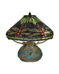 Dragonfly Lamp with Dragonfly Mosaic Wheat Base by