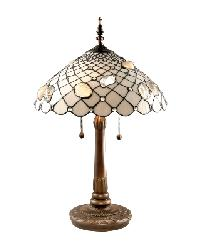 Tiffany Art Glass Lamp with Metal Base by