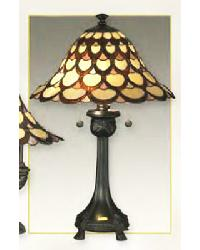 Tiffany Art Glass Table Lamp with Metal Base by