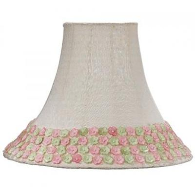 Jubilee Collection Pink Green Flower Border Medium Shade  Kids Lamps and Shades