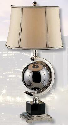 Mario Lamps Blackened Chrome Sphere Table Lamp Taupe Silk with Black Accents Shade Search Results