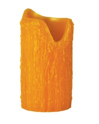 4in W X 8in H Poly Resin Honey Amber Uneven Top Candle Cover by
