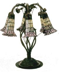 Tiffany Pond Lily White and Pink 6 Lt Table Lamp by