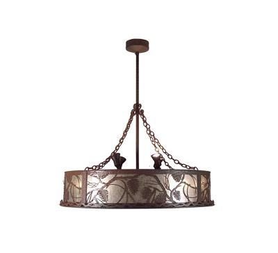 Meyda Tiffany Whispering Pines Uplights Chandel-Air Rust/Wrought Iron/Silver Mica Tiffany Chandeliers