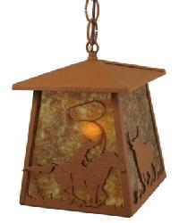 Cowboy Steer Lantern Pendant by