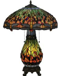 Tiffany Hanginghead Dragonfly Table Lamp by
