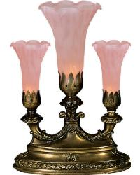 Pink Pond Lily 3 Lt Mantelabra Accent Lamp by