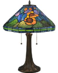 Tiffany Poppy Cone Table Lamp by