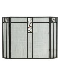 Pine Branch Glass Folding Fireplace Screen by