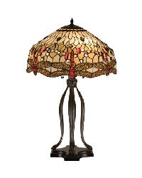 Tiffany Scarlet Dragonfly Table Lamp by