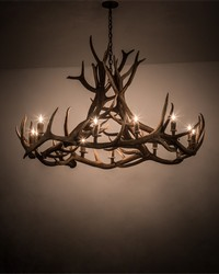56in  Wide Antlers Elk 12 LT Chandelier by