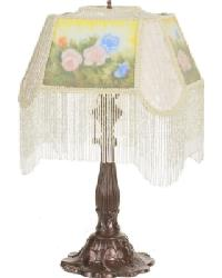 Reverse Painted Roses Accent Lamp by