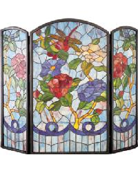 Dragonfly Flower Folding Fireplace Screen by