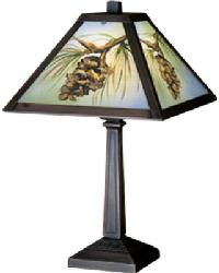 Northwoods Pinecone Hand Painted Accent Lamp by
