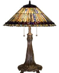 Tiffany Jeweled Peacock Table Lamp by
