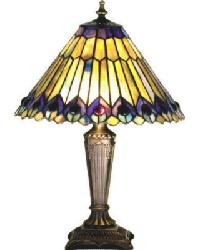 Tiffany Jeweled Peacock Accent Lamp by