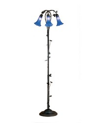 59in H Blue Pond Lily 3 LT Floor Lamp by