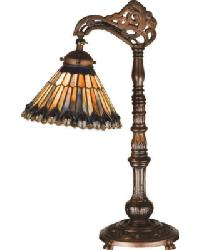 Tiffany Jeweled Peacock Bridge Arm Desk Lamp by